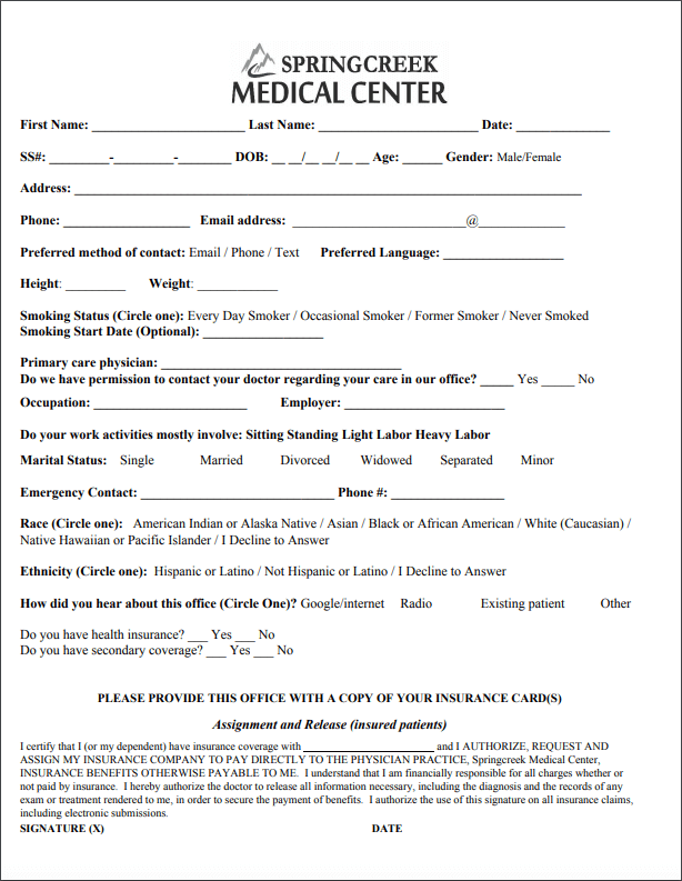 new patient packet form springcreek medical center