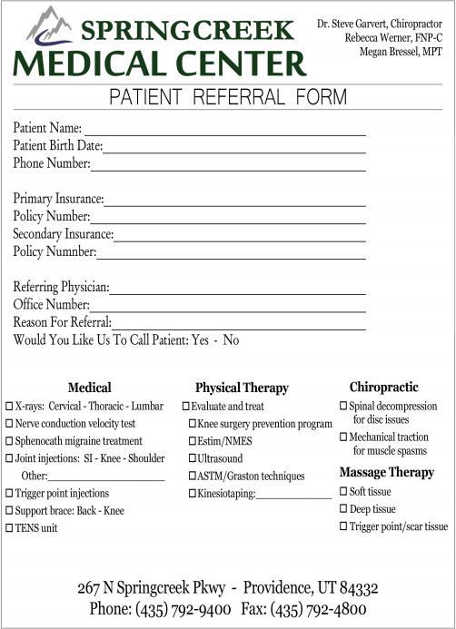 referral form springcreek medical center