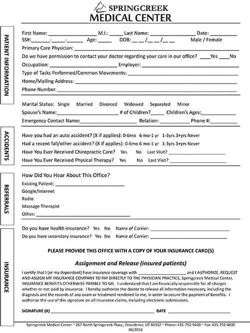 new patient packet form springcreek medical center